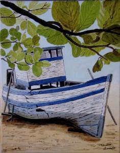 Vieux bateau échoué sur une plage tropicale dans CREATIONS 2010 vieuxbateauchou1-235x300
