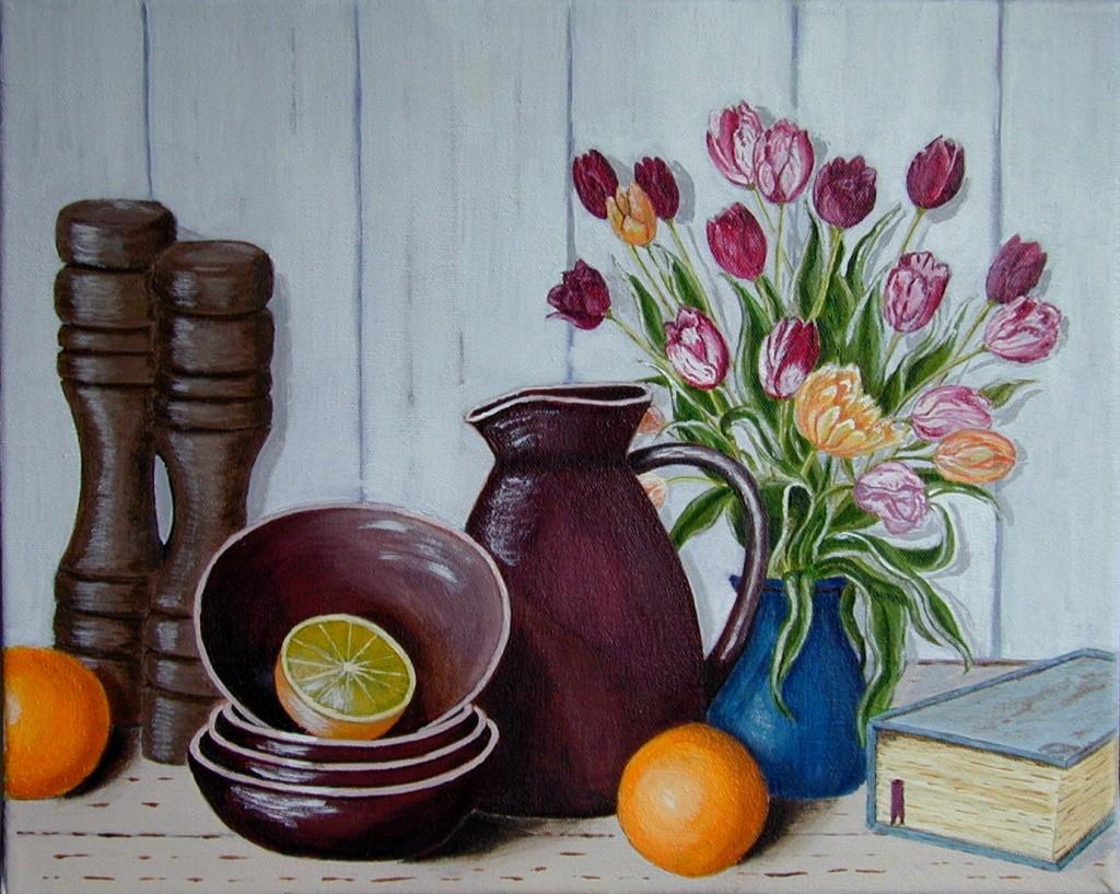 accessoires de cuisine et vase de tulipes les peintures acryliques de christian monniotte. Black Bedroom Furniture Sets. Home Design Ideas