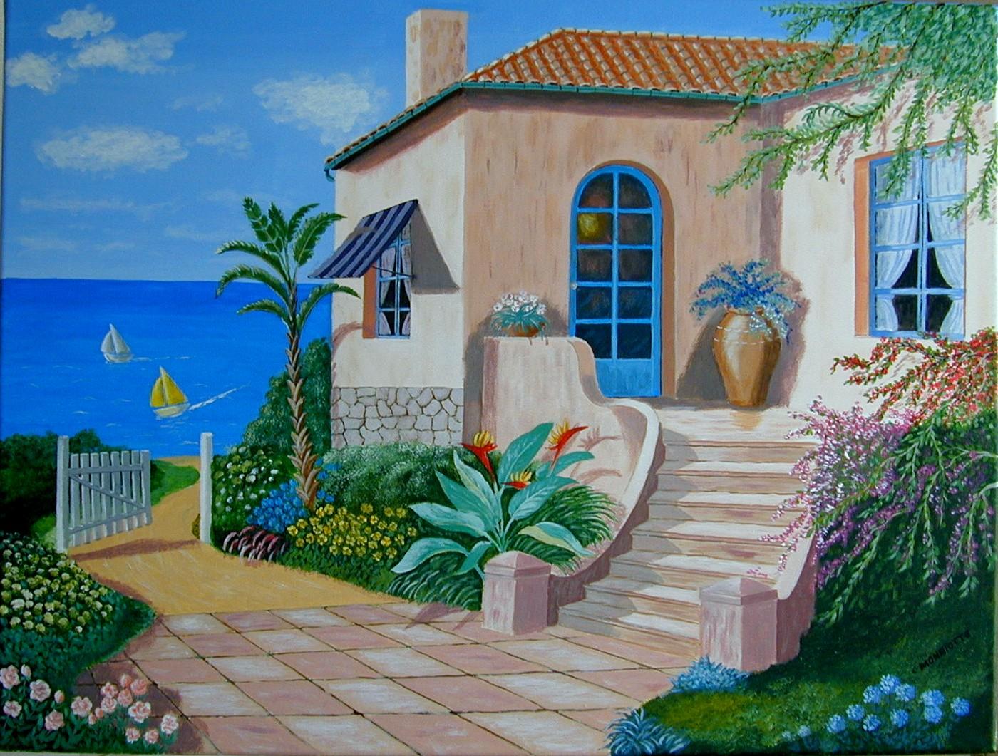 villa de bord de mer les peintures acryliques de christian monniotte. Black Bedroom Furniture Sets. Home Design Ideas