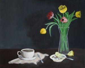 Nature morte tulipe- thé-sucre et citron